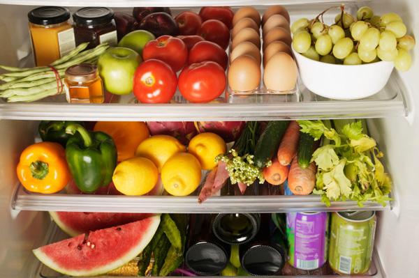 Packed Refrigerator Shelves