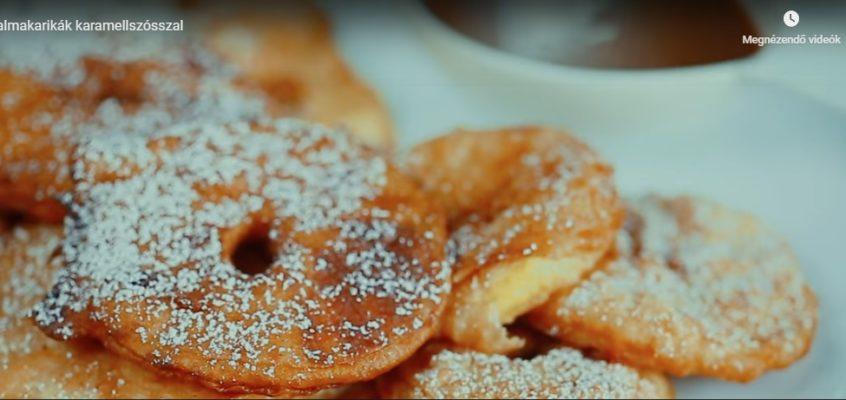 Sült almakarikák karamellszósszal